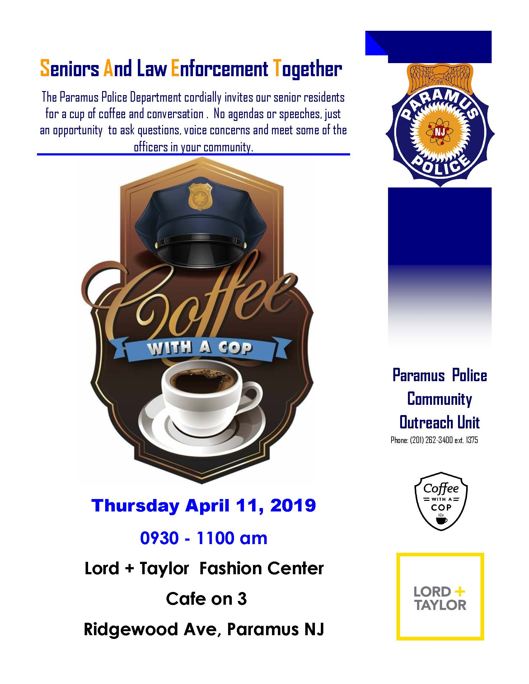 Paramus Coffee With A Cop April 11 2019