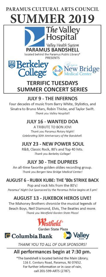 Paramus Concert  Series: Terrific Tuesdays Summer Concert