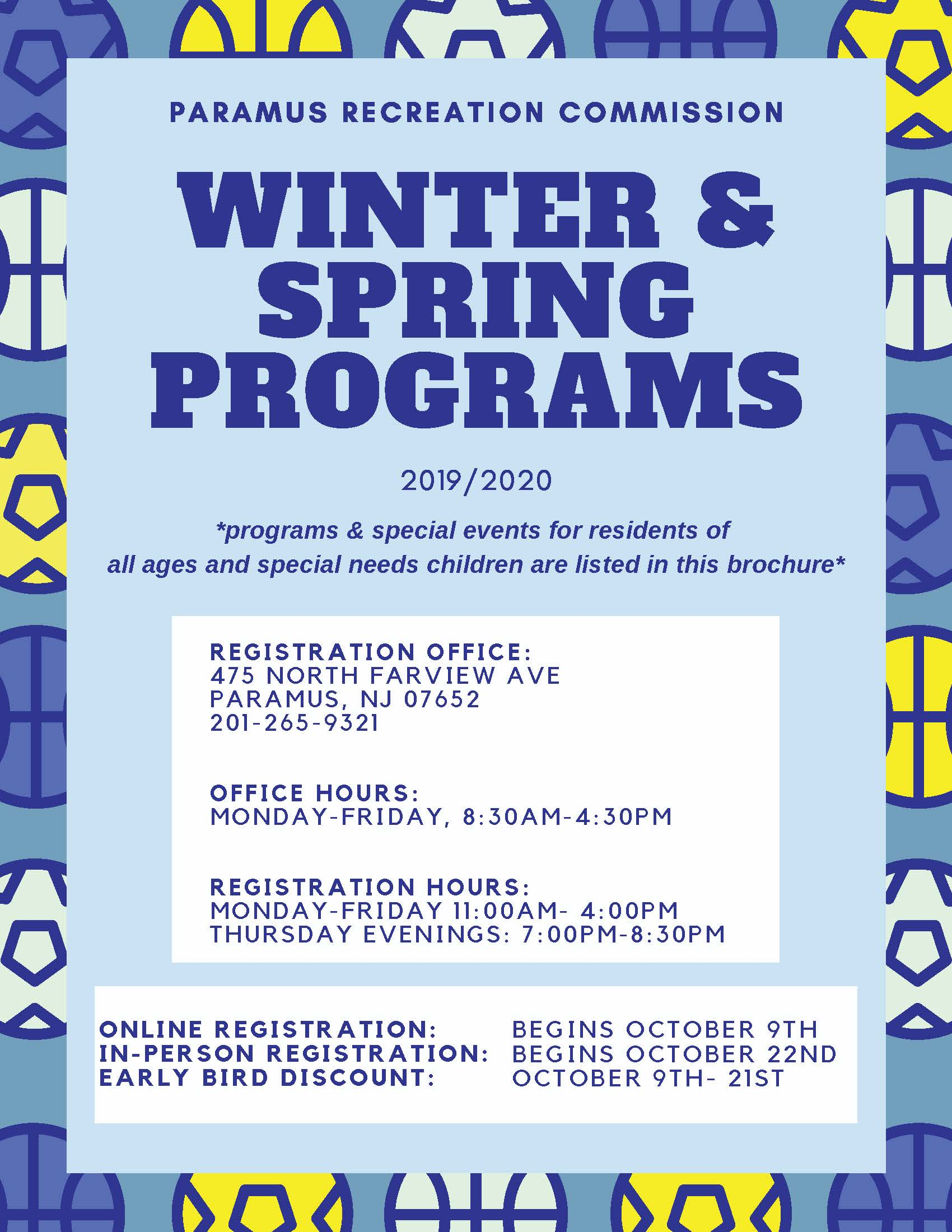 Paramus Recreation Winter and Spring 2020 Brochure