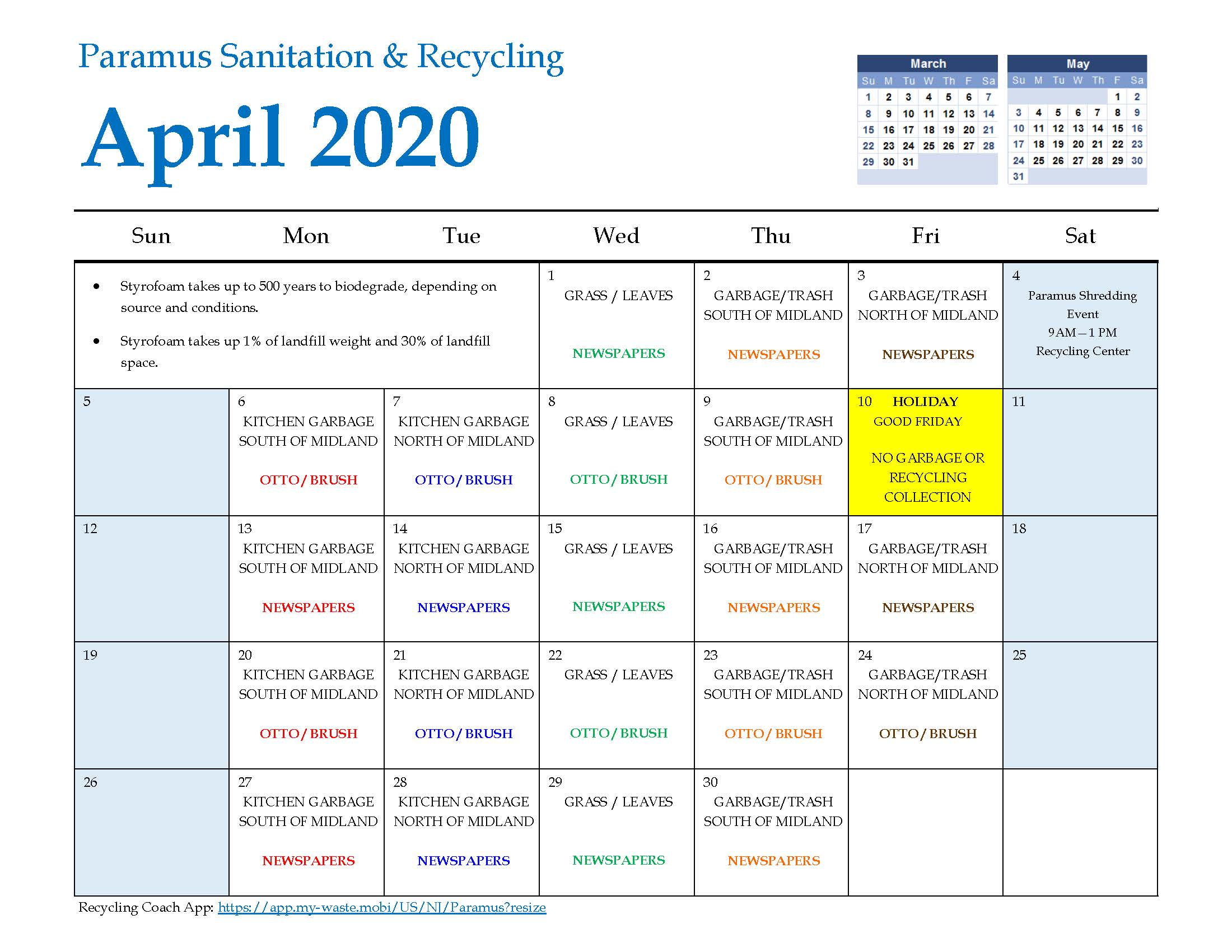 2020 Paramus Recycling Calendar April