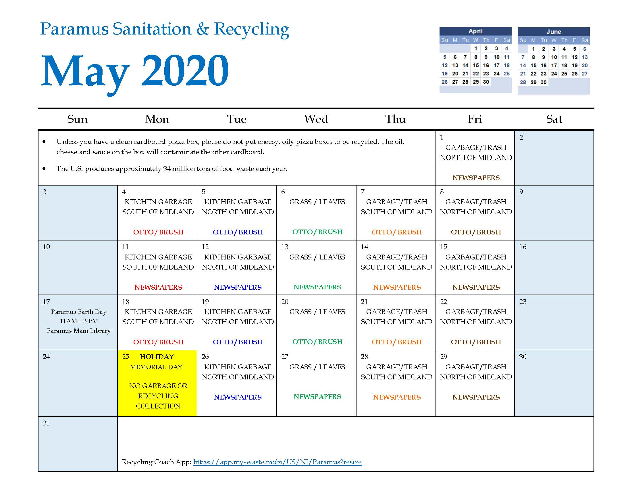 2020 Paramus Recycling Calendar May