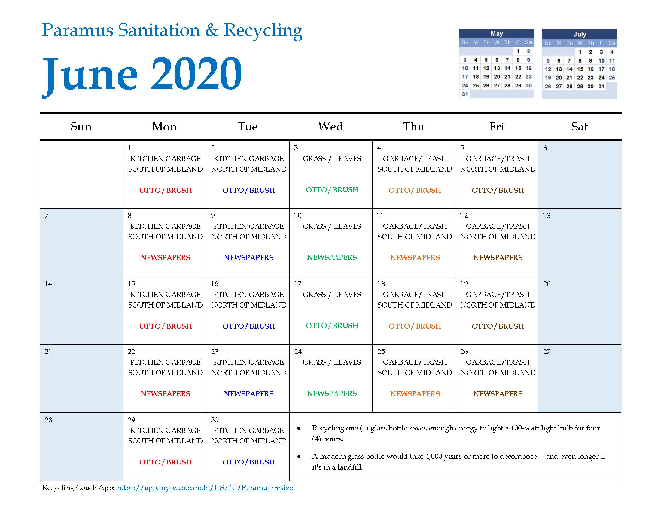 2020 Paramus Recycling Calendar June