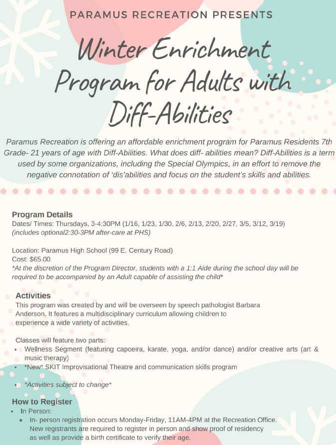 Winter Enrichment Program for Adults with DiffAbilities