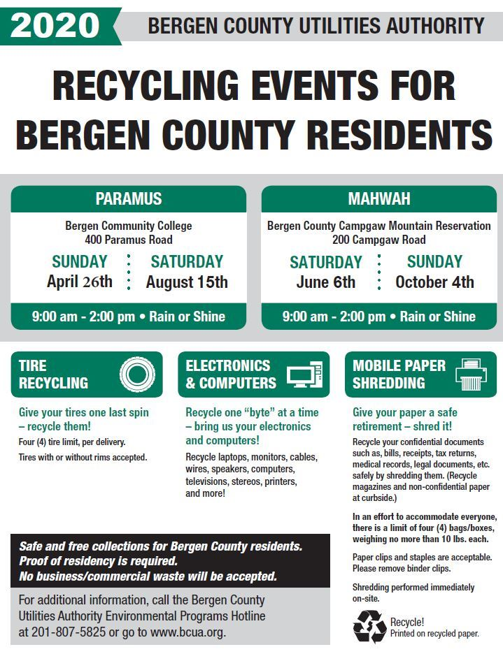 2020 Recycling Event Tires, Electronics, paper shred