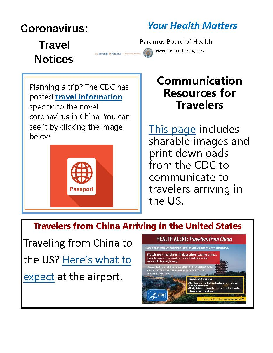 2020 Coronavirus Travel Notice