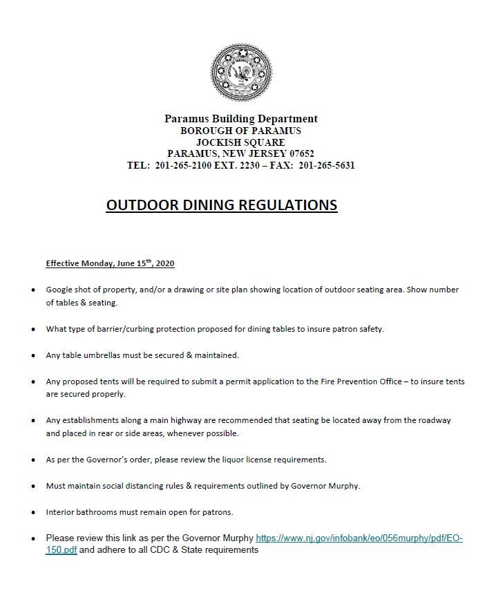 2020 Outdoor Food Establishment  Regulations
