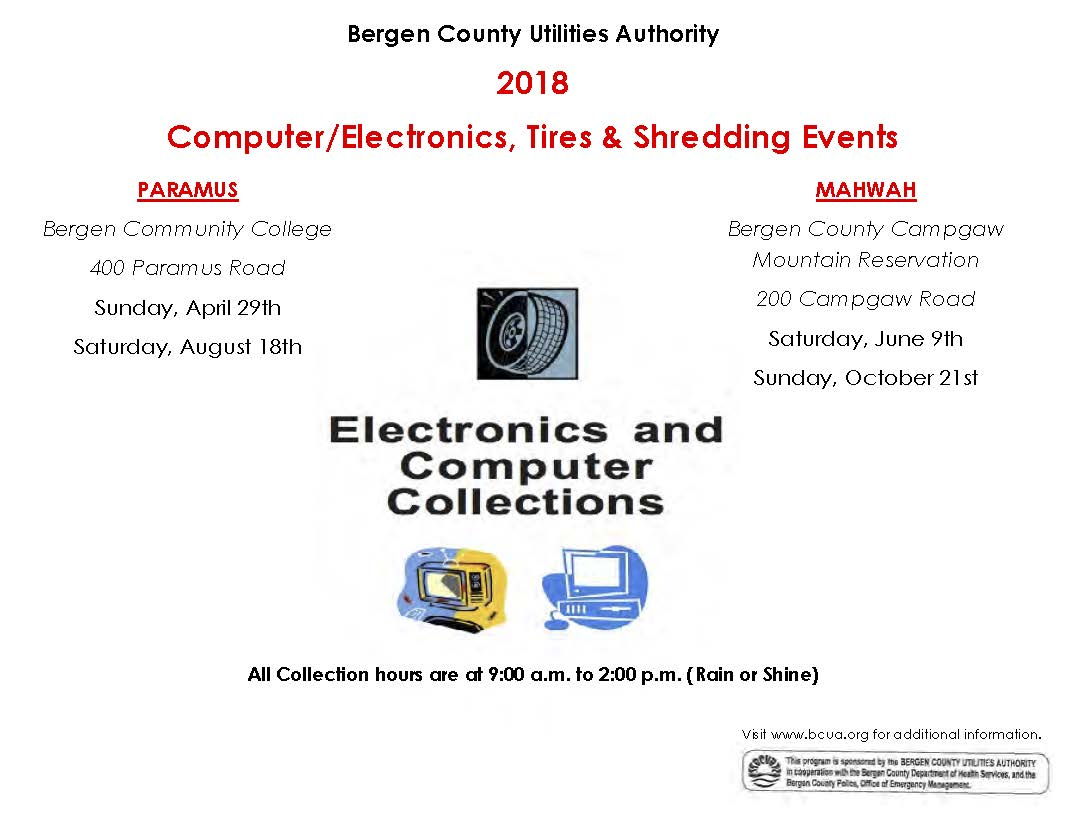 2018 Computer Electronics Tires and Shredding Events
