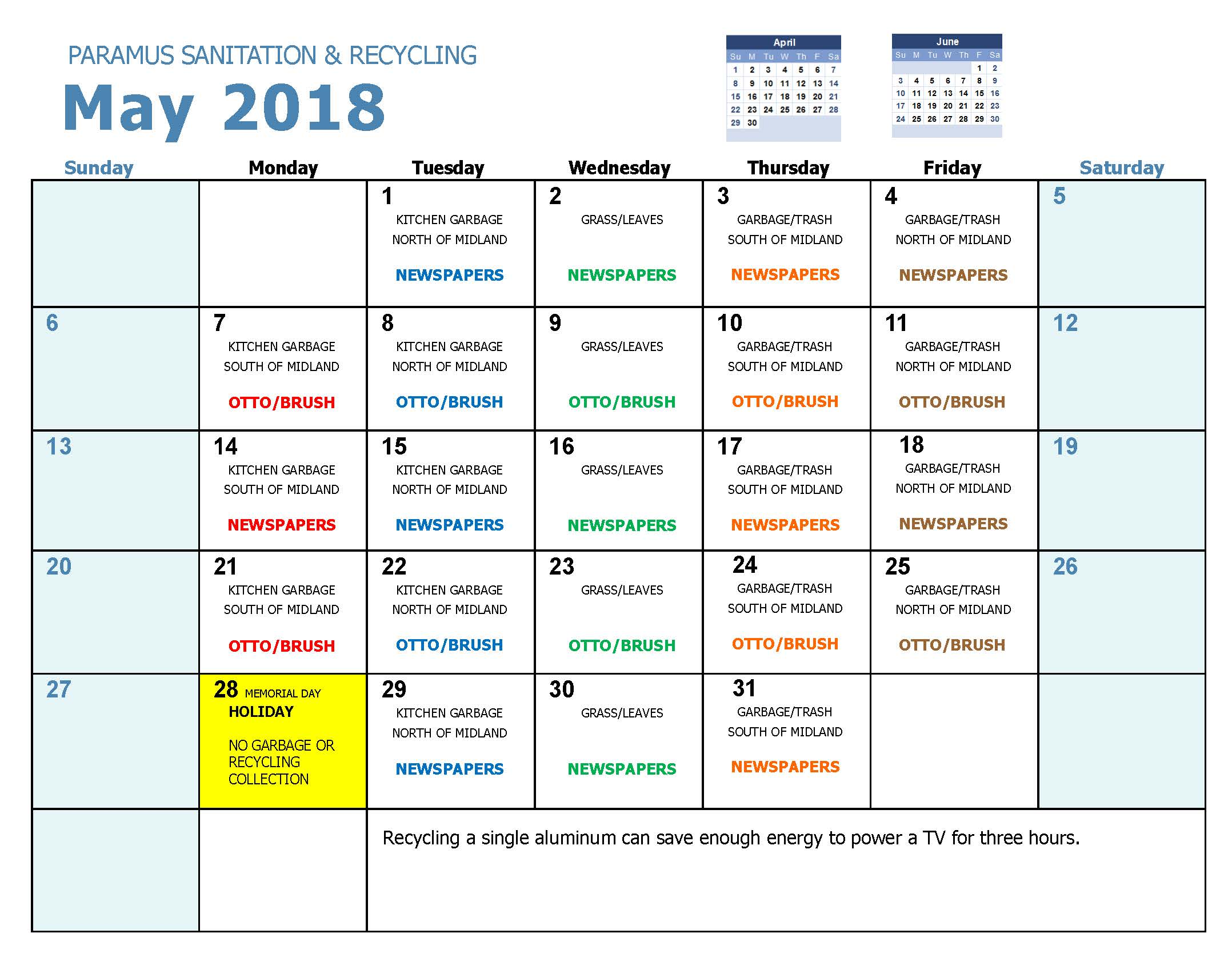 2018 Recycling Calendar May