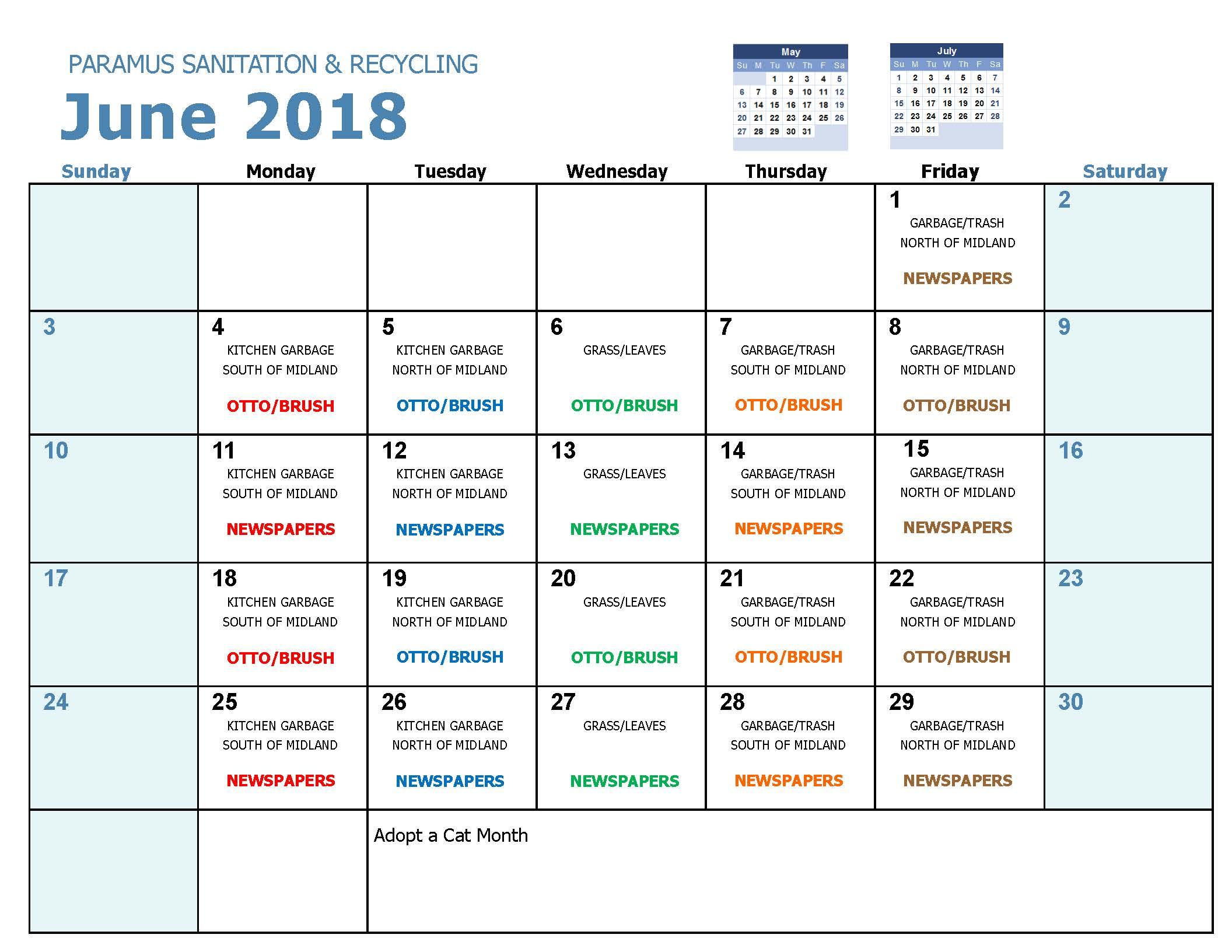 2018 Recycling Calendar June