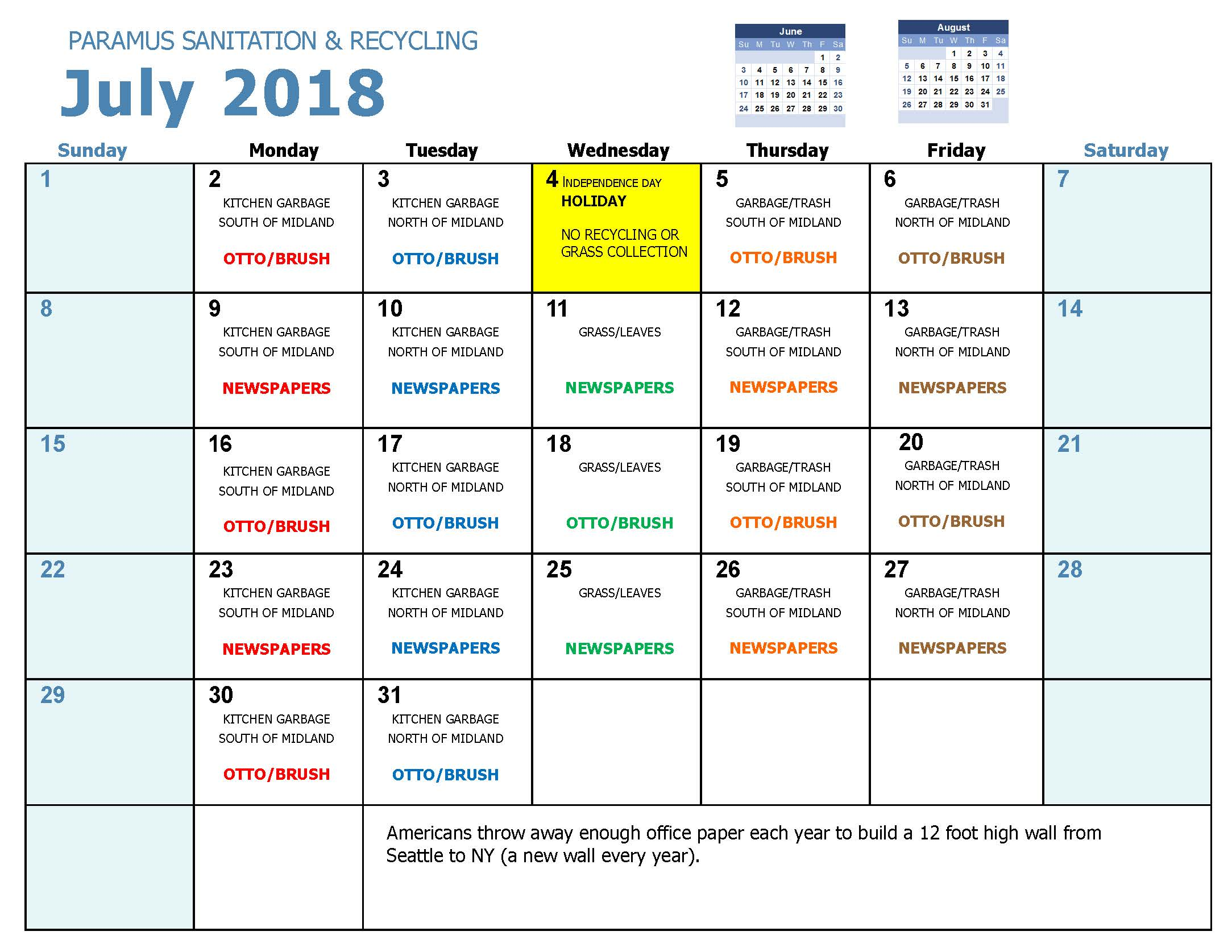 2018 Recycling Calendar Jul