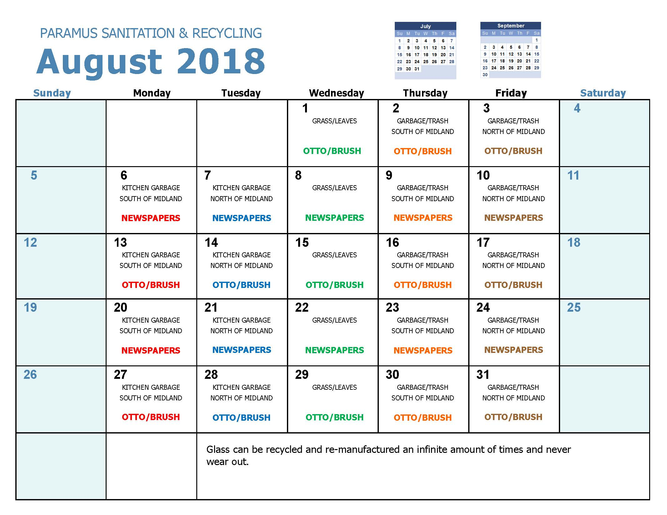 2018 Recycling Calendar Aug