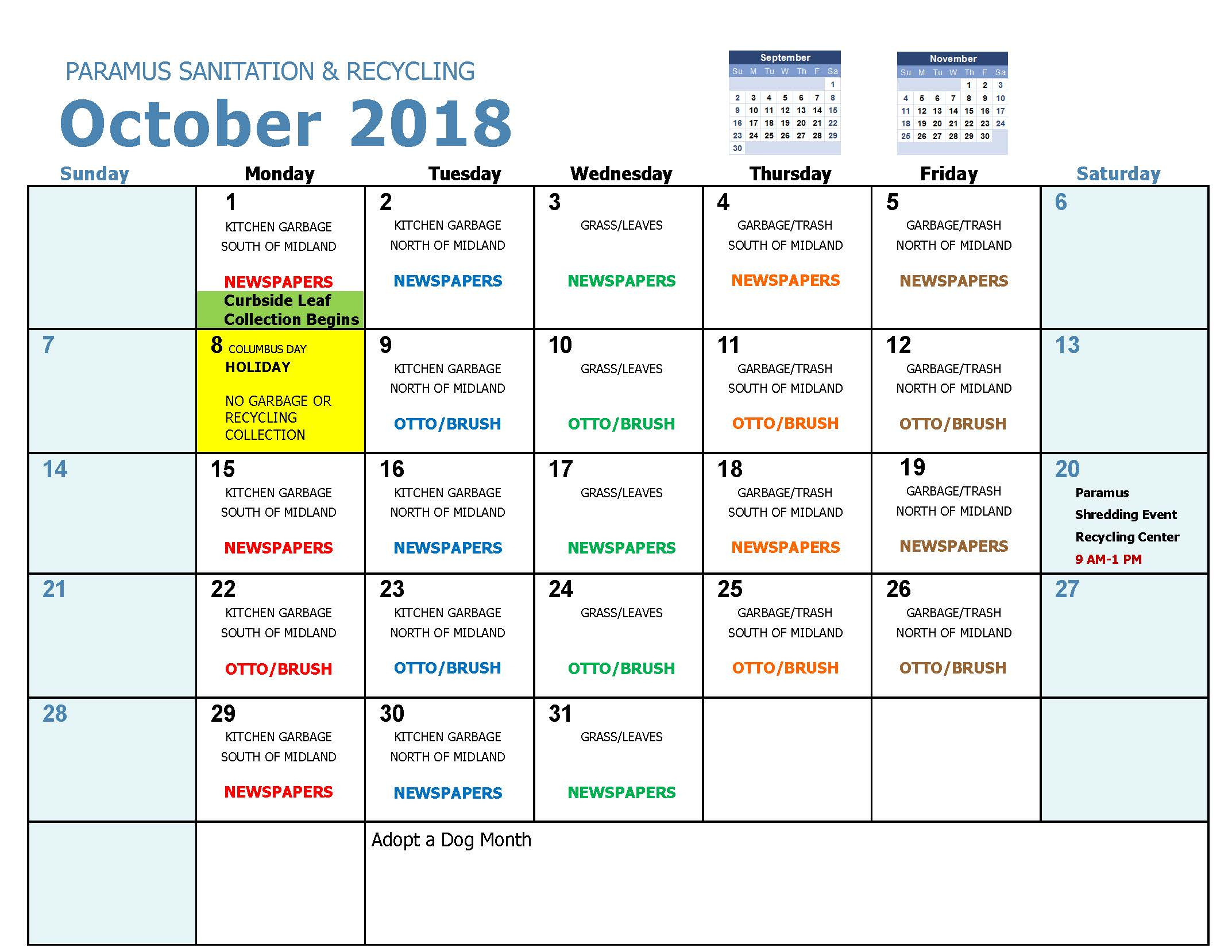 2018 Recycling Calendar Oct