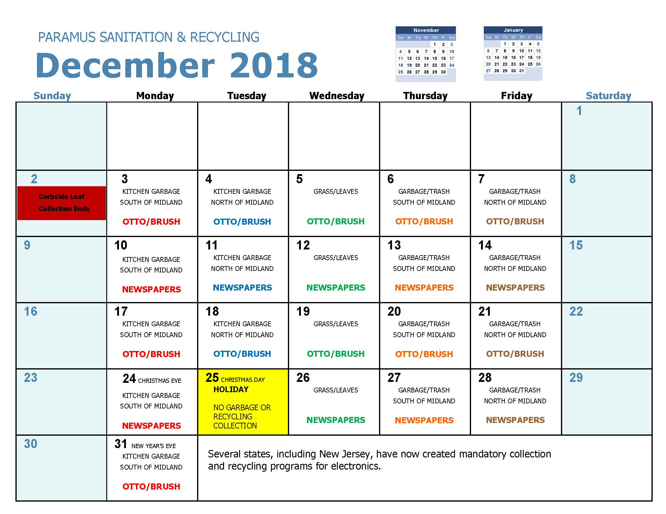 2018 Recycling Calendar Dec