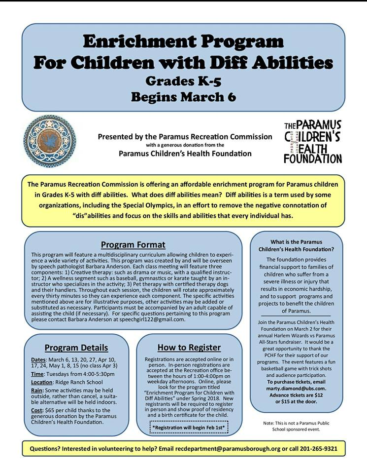 2018 Enrichment Program for Children with Diff Abilities