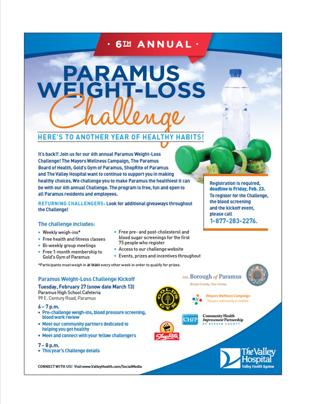 Paramus Weight Loss Challenge Flyer