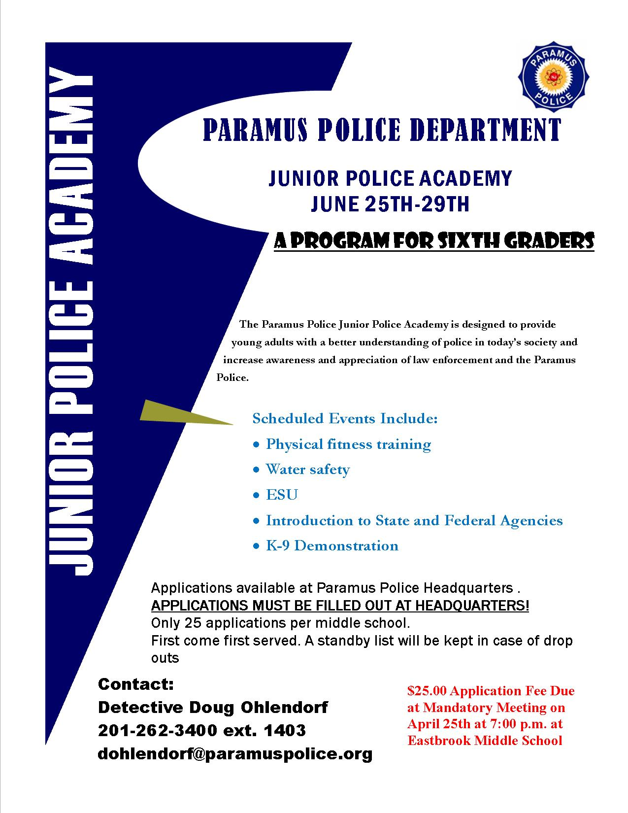 Junior Police Academy Flyer
