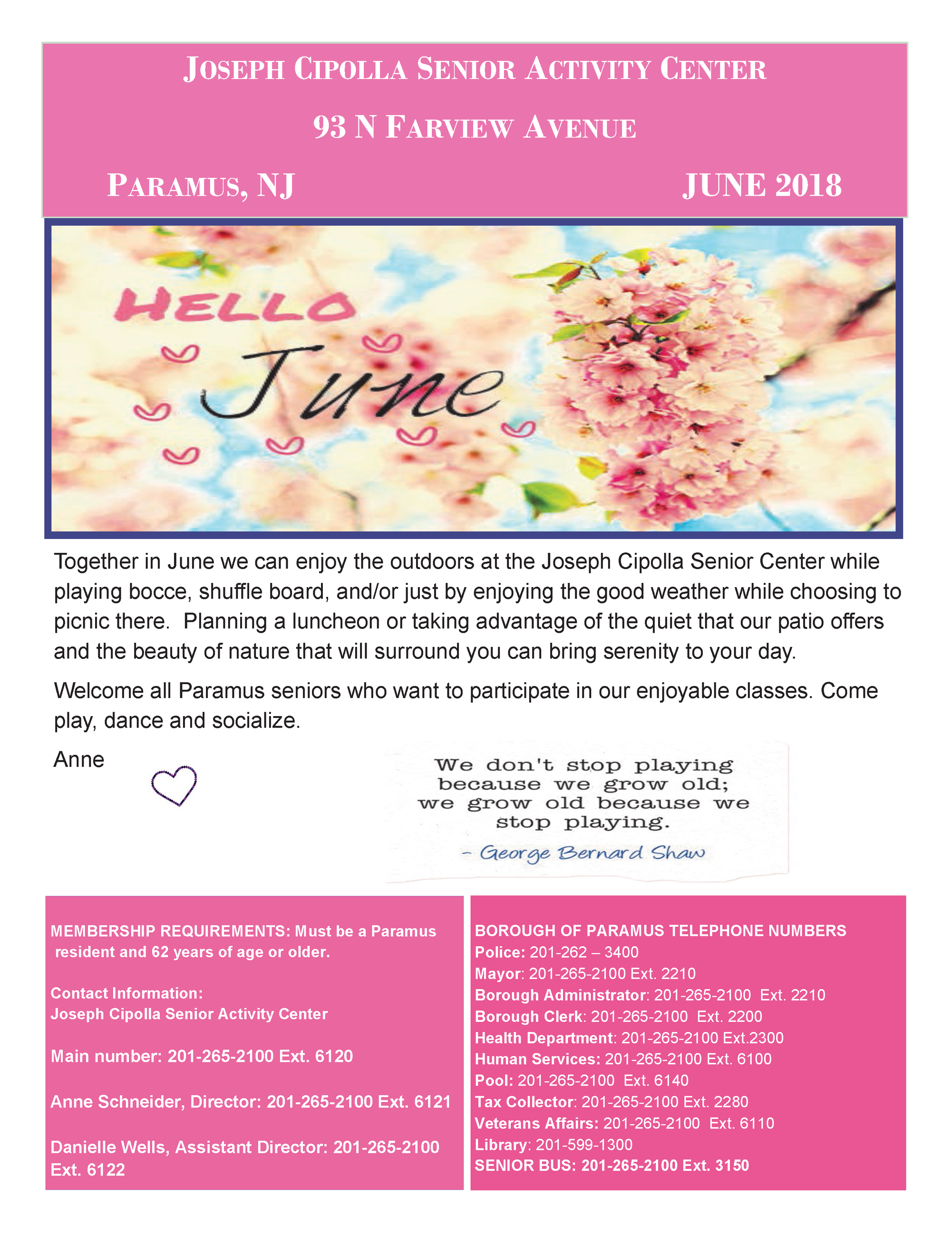 June 2018 Senior Center Newsletter Page 1