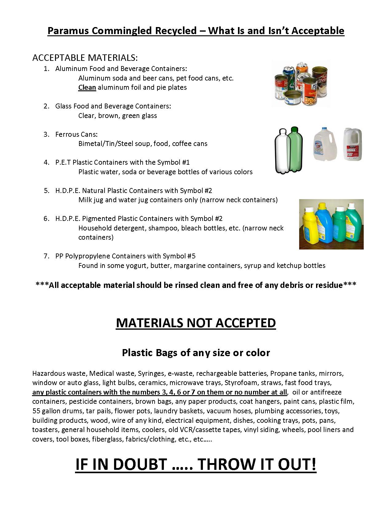 Acceptable Commingled Recycling list 7-5-18 with pictures