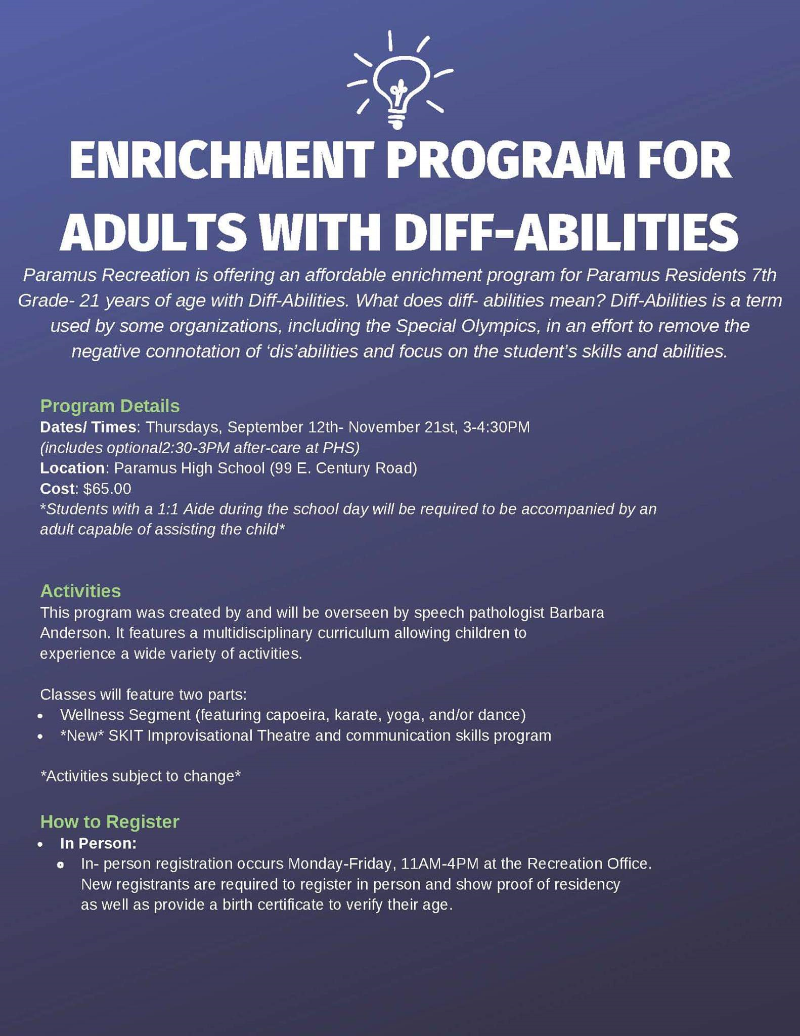 2019 Enrichment Program for Adults Diff-Abilities