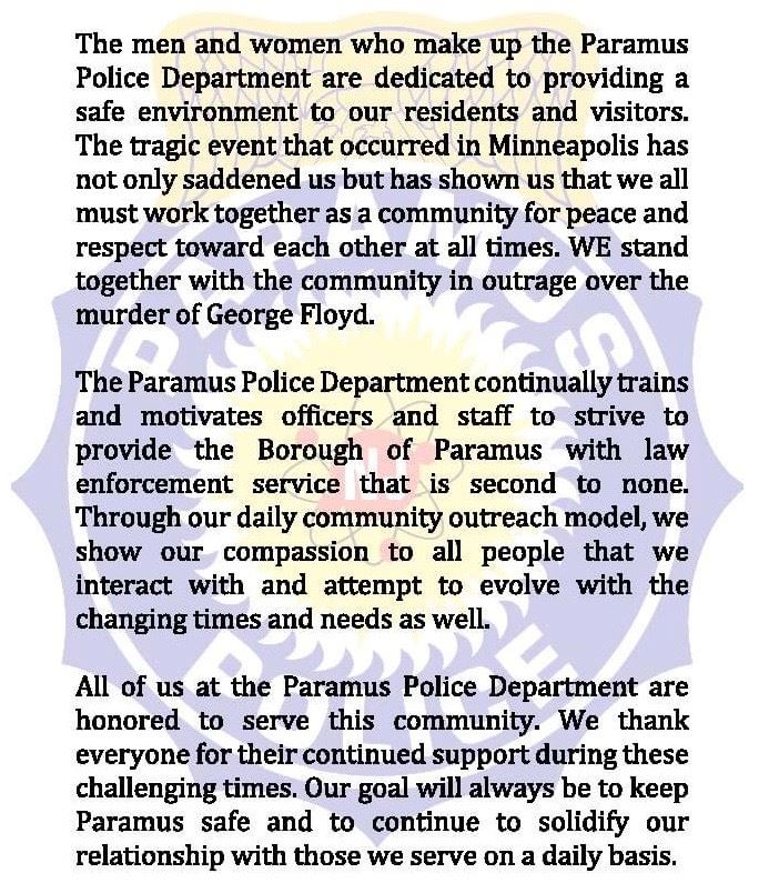 Paramus Police Statement